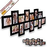 WopArt XL Bilderrahmen Collage für 14 Bilder im Format 10x15 in schwarz inkl. unserem beliebten Aufhängeset