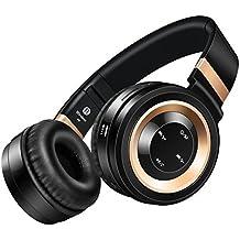 Sound Intone P6 Bluetooth 4.0 auriculares estéreo,Hi Fi Cancelación del ruido en la oreja Auriculares inalámbricos, Con micrófono incluido y control de volumen,on cable de audio, Compatible con los teléfonos/ PC/ Tv/ iPhone/ Samsung/ Laptop (negro/oro)