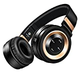 Sound Intone P6 Bluetooth Headphones with Mic Foldable Wireless Headset Support TF Card and FM Radio for Mobile Phone iPhone Samsung iPad Tablet PC TV Running (Black gold)