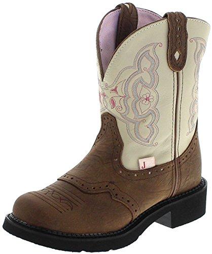 Justin Boots L9924 B White Brown Westernreitstiefel für Damen Braun, Groesse:39 (9 US) - Justin Western Cowboy Stiefel