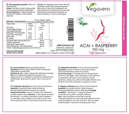 Acai + Himbeer (Raspberry) Vegavero | 45-Tage-Kur | 21.000 mg Acai und 700 mg Himbeer pro Tagesdosis – HOCHDOSIERT | Vegan und OHNE chemische Zusätze | 90 Kapseln