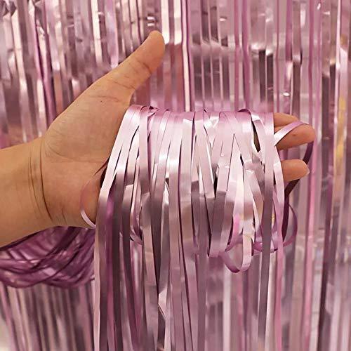 2 Packs Photo Booth Backdrops Matte Folie Vorhänge Metallic Lametta Hintergrund Vorhänge Tür Fringe Vorhänge für Hochzeit Geburtstag Weihnachten Halloween Disco Party Favor Dekorationen (Rosa)