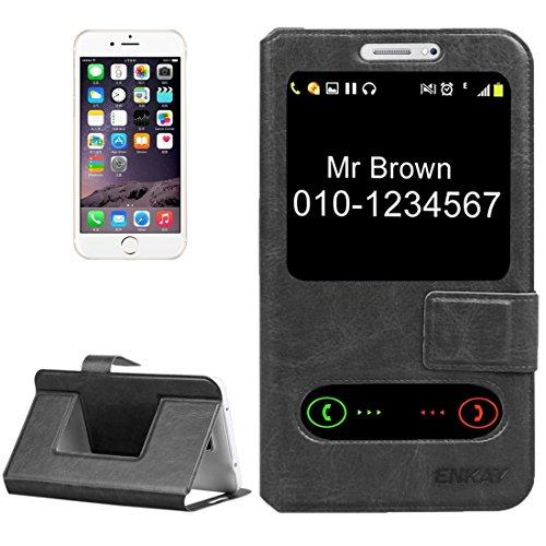 Phone case & Hülle Für IPhone 6 / 6s /, Samsung Galaxy A3 / A5, Huawei Aufstieg Y530 / LG L Bello, Normallack Horizontale Flip Leder Tasche mit Call Display ID & Halter ( Color : Black ) Black