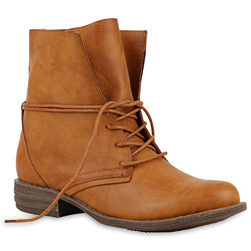 Luftige Sommer Damen Worker Boots Stiefeletten Stiefel Lederoptik Braun