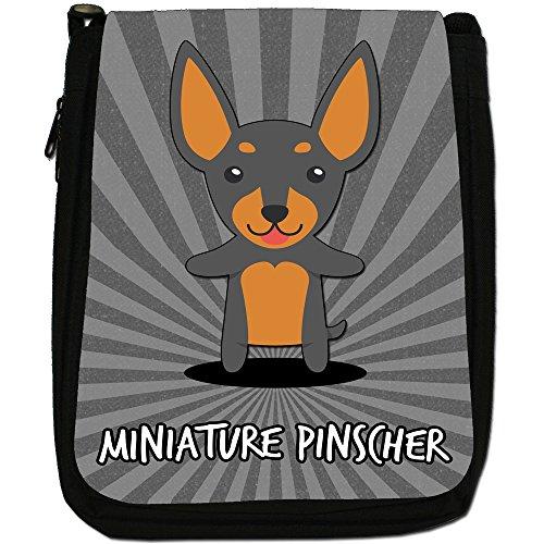 Tedesco Cartoon cani medium nero borsa in tela, taglia M Miniature Pinscher, Min Pin