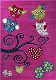 Ayyildiz Kinderteppich, Eulen Motiv, intensive Farben, verschieden Farben und Größen, Teppich, Pflegeleicht, Schadstoffgeprüft, Fussbodengeiegnet, KIDS 0420, 8694257055153