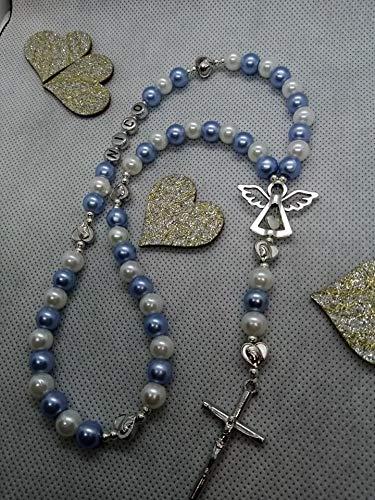 Rosenkranz mit Namen Blau Weiß Junge taufe Geschenk Kommunion Geschenk Konfirmation Geschenk
