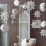 6PCS Weihnachten Dreidimensionale Schneeflocke - 3D Schneeflocken Hanging Dekorationen für Party, Schaufensterbummel, Shop Dekoration, Dekoration, Ornamente, Winter Deko Weihnachtsdeko(Silbern)