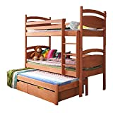 Ye Perfect Choice Triple BUNK BED Caesar Modern High Bed DRAWERS Ladder 3 Children Pine Wood 2 sizes