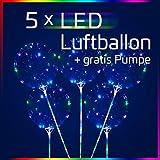 LED Luftballon mit Stab 5 Stück + Gratis Pumpe | Party, Dekoration, Geburtstag, Hochzeit
