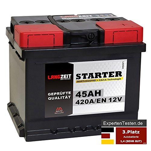 LANGZEIT Starter Serie 12V 44Ah - 105Ah Autobatterie Starterbatterie, KFZ PKW Batterie (45Ah) 420a Batterie