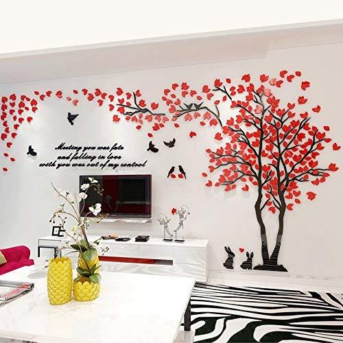Alicemall 3d adesivi murali wall sticker adesivi da parete in acrilico foresta rossa