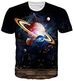 uideazone Teens Planet Galaxy T-Shirts 3D Print Short Sleeve Tee Shirts Blouse Tops S