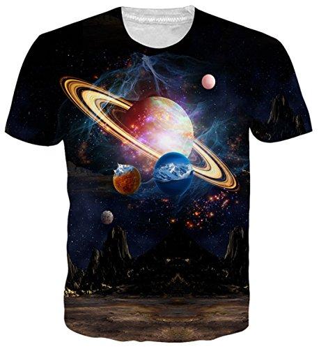 uideazone Herren's Beiläufig T Shirts 3D Print Planet Galaxis Kurzarm Grafik Tees XL