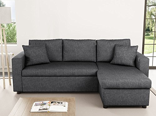 Usinestreet Canapé d'Angle Réversible et Convertible avec Coffre en tissu gris MARIA