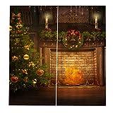 Sharplace Schlafzimmer Vorhang mit Einzigartigen Szenen von Weihnachten Party Deko Zubehör - Muster #14