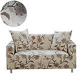 ENZER Sofa Bezug 1 2 3 4-Sitzer-Bettüberwurf Sessel Blumen Vogel Easy Stretch Elastischer Stoff Sofa Couch Cover Protector,4-Sitzer,Blume Reben