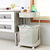 #10: Klaxon Laundry Basket – Plastic Laundry Basket - Cloth Storage Basket / Movable Laundry Basket / Washing Clothes Basket – White