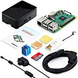 ABOX Raspberry Pi 3 B Model B Complete Starter Kit Motherboard 32GB SanDisk SD Card NOOBS, 2.5A On/off UK Edition Power Supply, Support POE