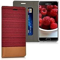 kwmobile Housse flip case pour Samsung Galaxy A3 (2016) pochette cover bookstyle en simili-cuir et textile en rouge foncé marron