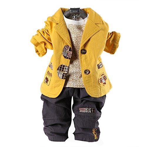 Kinder Baumwoll-Anzug Anzug,Yellow-100