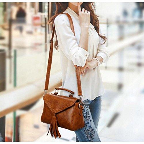 Dame Mode Trend Handtasche Schulter Messenger PU-Leder Quaste Kleine Quadratische Tasche Red