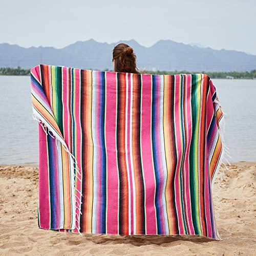 ETbotu,Picknickdecke,Mexikanisch-indische Art-manuelle Regenbogen-Farbhängende Tapisserie,Rose rot,150x200cm + Quaste