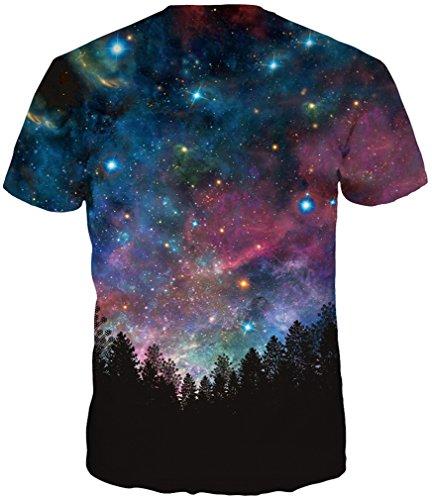 TDOLAH Herren Slim Fit 3D Farbspritzer Druck Muster T-Shirts Kurzarm Top Wälder-blauer Himmel