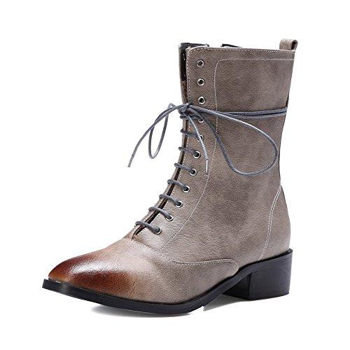 VogueZone009 Damen Reißverschluss Weiches Material Quadratisch Zehe Stiefel Grau