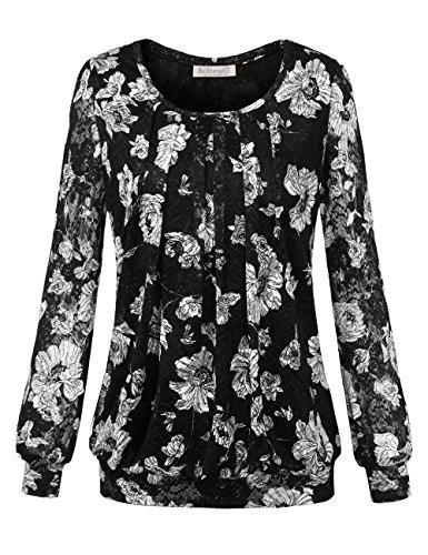 BAISHENGGT Damen Übergröße Spitzen Rundhals Langarm Shirt Schwarz-Blumen Large (Stretch Lace Tee)