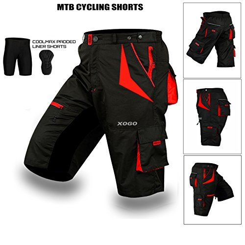 XOGO Cycling MTB Shorts,Coolmax® Padded, detachable Inner Lining, Free Style Adult Size, RED