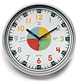 Teaching Clock with Silent Movement | Educational Clock that Makes Kid's Learning Time Faster + Fun. Quiet Child's Wall Clock Perfect for Parents and Teachers, Toddler's Bedroom or Classroom.