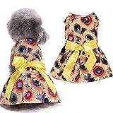 Hearsbeauty moda estate stampa floreale Bowknot senza maniche abito prendisole per cane cucciolo