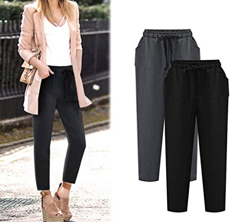 Bigood Harlan Pantalon Femme Vogue Lâche Casual Cotonnade Souple Noir