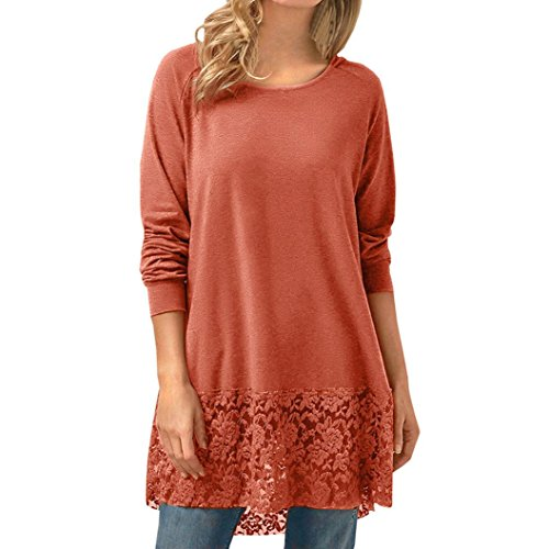 HUHU833 Tee Shirt Femme Casual Col O Impression Dentelle à Manches Longues Mode Chemise Tops Chic Sweater Tee-Shirt Blouse Orange
