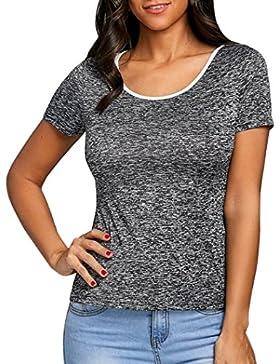 [Sponsorizzato]Camicetta Elegante Donna Rcool Colore puro Pizzo Camicia Manica corta Estate casuale sportivo gilet top T shirt