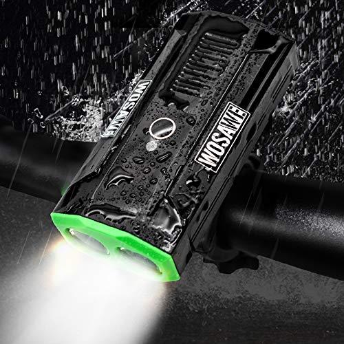 MTSBW Fahrrad Frontleuchte 2 LEDs Eingebaute USB Wiederaufladbare Super Helle Wasserdichte Outdoor Camping
