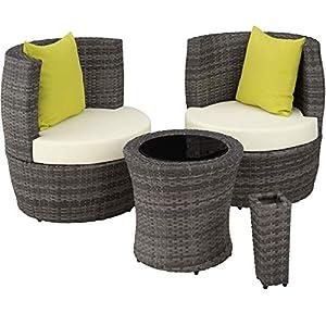 TecTake 800690 Aluminium Poly Rattan Sitzgruppe für 2 Personen, 8-teilig, Aufbewahrung in Ei-Form, wetterfest, inkl. Sitz- und Rückenkissen & Vase - Diverse Farben (Grau | Nr. 403141)