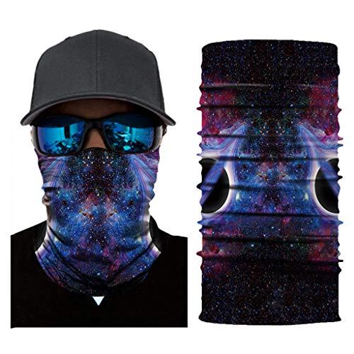 Feitb Galaxy-Muster Bedrucktes Multifunktionstuch Bandana Halstuch Kopftuch Gesichtsmaske Balaclava atmungsaktiv Halloween Maske fürs Motorrad,Fahrrad- und Skifahren (D)