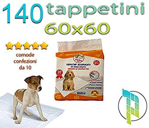 Palucart tappetini igienici per Cane 60x60 traversine per Cani - 140 - Pezzi Animali Domestici con Adesivo Anche per Gatti Anti Odore ...