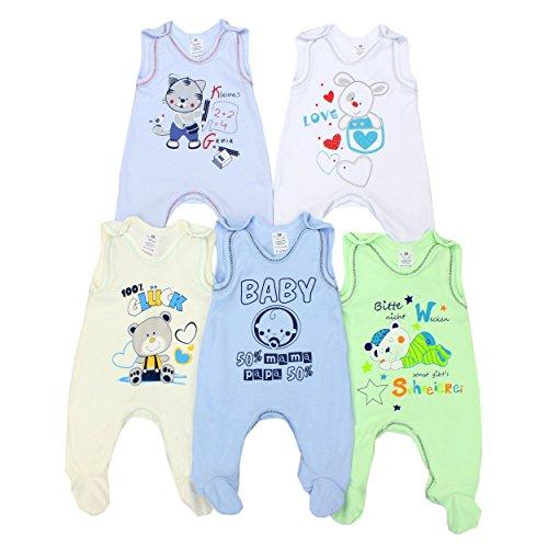 Baby Strampler mit Aufdruck und Spruch 100% Baumwolle Jungen Babystrampler Strampelanzug Mädchen im 5er PACK, Farbe: Junge, Größe: 68