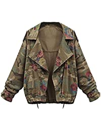 4bf10b2ef702d Minetom Femmes Militaire Imprime Camouflage Blouson Mode Manches Longues  Jacket Ladies Casual Vestes Manteau