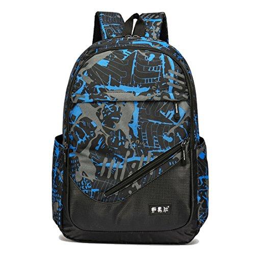 Maod Nylon Schulrucksack Jungen Rucksack Notebook cityrucksack Freizeit Schultasche Jugendliche Daypack wasserdicht ranzen kariert laptoprucksack 16 Zoll (Blau)