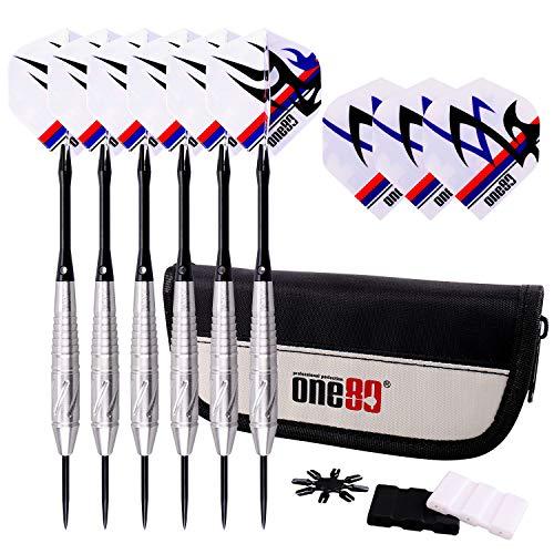 ONE80 Dartpfeile,6 Stück Steel Darts Pfeile Set mit 3 Flights / 1 Dart Bag / 1 Flight Protector / 1 Dart Tool,22 Gramm (20 Gramm Barrel) Profi Steeldarts mit Metallspitze,Darts Steel,dartpfeil,Dart