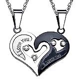 Inception Pro Infinite Halskette mit Doppel Herz Anhänger Yin Yang Geteilt Hälfte - Geschrieben - Ich Liebe Dich - Schwarz - Brilliant Strass - I Love You