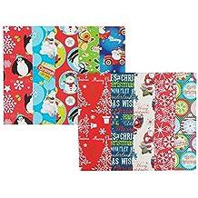 Lot de 10 grandes feuilles de Papier cadeau de Noël - 50 x 70 cm 10 designs - 1485 mm - Regalo Materiale