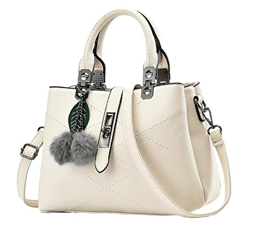 - 51pjp8o6EsL - YAANCUN Womens Soft Leather Handbags Multicolor Shoulder Bag Travel Totes White
