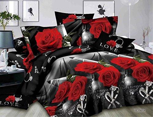 3D Gedruckt Rot Rose Bettbezug Bettwäsche Sets 1Bed Sheet + 1Bettbezug + 2Kissenbezüge Fall Double Größe