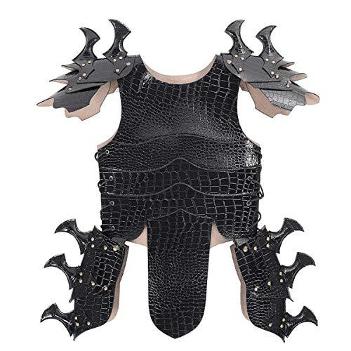 Soldat Kinder Kostüm Griechischer - WASAIO Halloween Lederkrieger Rüstung Cosplay,Black