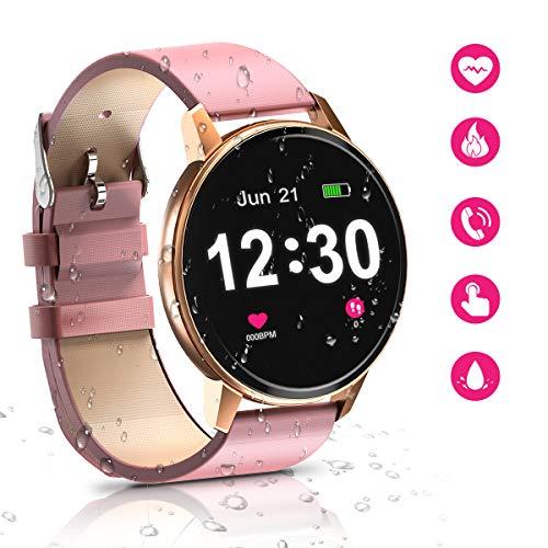 Montre Intelligente Bluetooth pour Femme, étanche avec écran Tactile de 1,3 Pouce, Moniteur de fréquence Cardiaque, Moniteur de Sommeil, Moniteur d'activité, podomètre, pour Android et iOS (Rose)